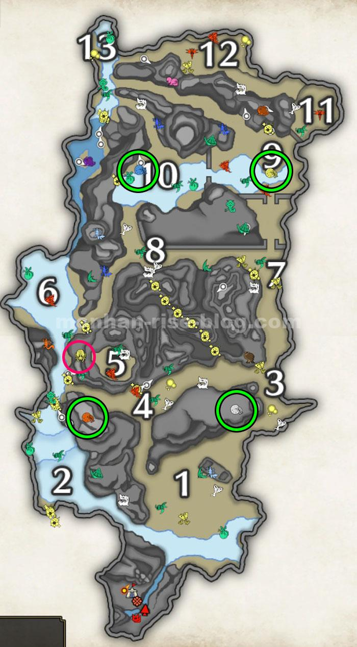 「大社跡」の採集MAP:「狩具生物」の採集ポイント